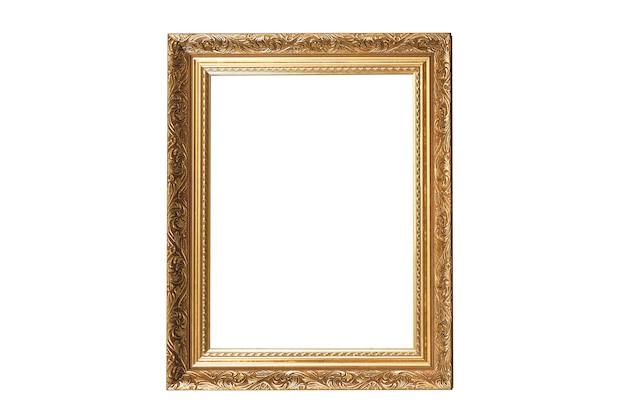Moldura dourada vintage isolada no fundo branco.