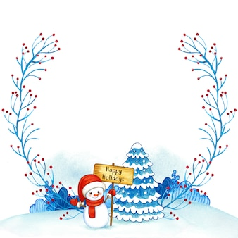 Moldura em aquarela de natal com boneco de neve e árvore
