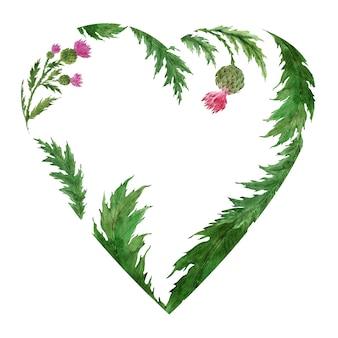 Moldura em aquarela em formato de coração com a planta thistle