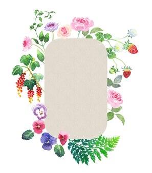 Moldura em aquarela pintada à mão com rosas amores-perfeitos, morangos groselha, samambaia de couro, stemona
