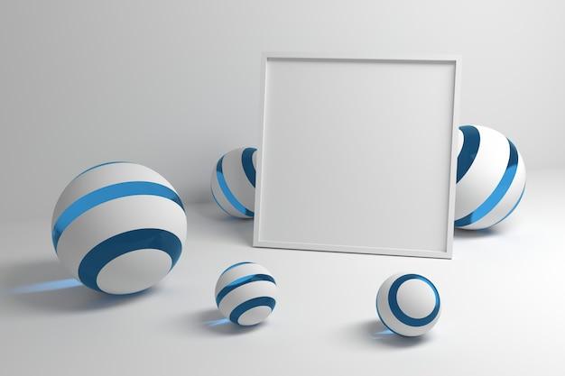 Moldura em branco com bolas azuis e brancas
