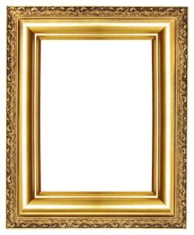 Moldura em branco dourada clássica isolada no fundo branco