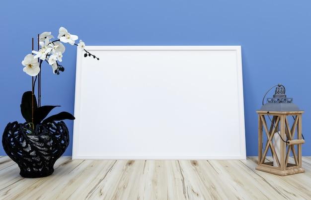 Moldura em branco na parede, tela à direita, um pote escuro com uma flor branca e uma folha pendurada. conceito de oficina de arte. renderização em 3d.