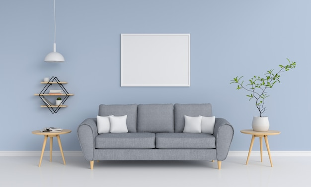 Moldura em branco na sala de estar