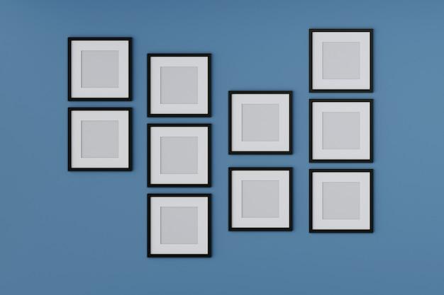 Moldura em branco simulada acima na parede azul. renderização em 3d.