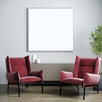 Moldura em branco simulada em um fundo interior moderno com parede branca vazia, poltrona rosa