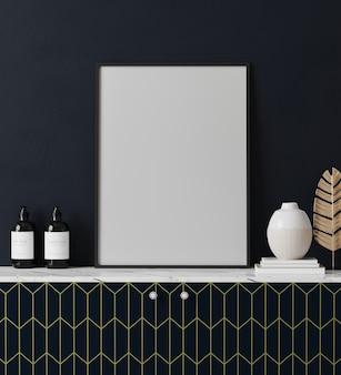 Moldura em branco simulada em um interior moderno e luxuoso com parede azul escura, em cima da cômoda, renderização em 3d