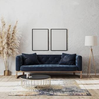 Moldura em branco simulada na parede em uma sala de estar moderna e luxuoso design de interiores com sofá azul escuro