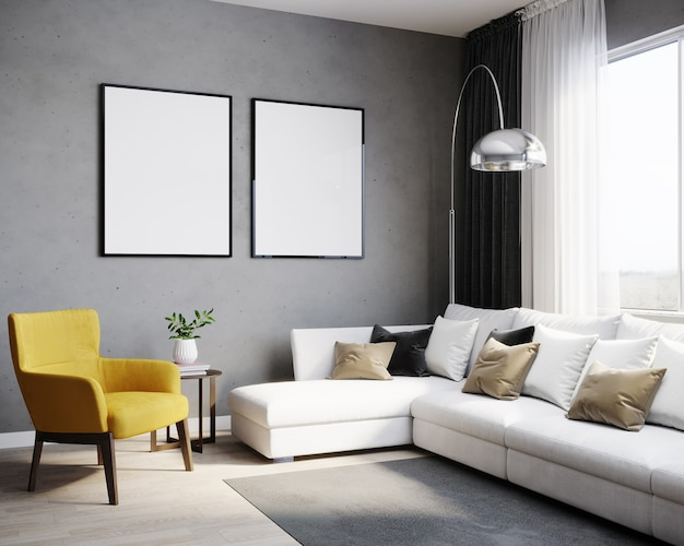 Moldura em branco simulada no interior de um quarto elegante, renderização em 3d