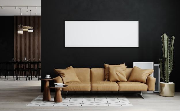 Moldura em branco simulada no interior do quarto escuro, renderização em 3d
