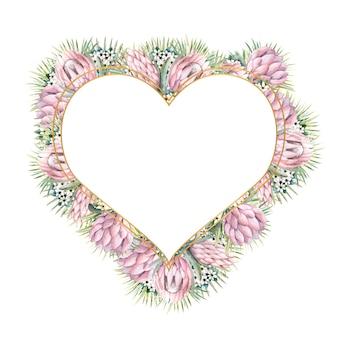 Moldura em forma de coração com flores protea