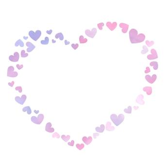 Moldura em forma de coração criada com pequenos corações