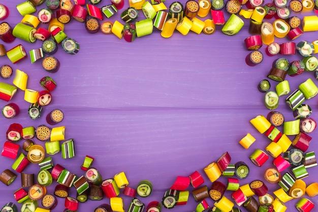 Moldura feita de balas de caramelo