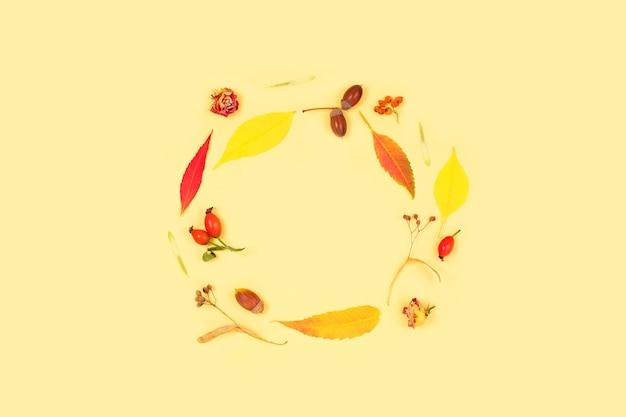 Moldura feita de flores secas e folhas caídas