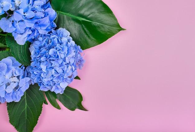 Moldura feita de hortênsia azul e folhas verdes em fundo rosa. camada plana, vista superior. plano de fundo do casamento.