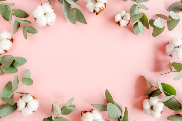 Moldura feita de ramos de eucalipto isolado em um fundo rosa com espaço vazio para texto. camada plana, vista superior.
