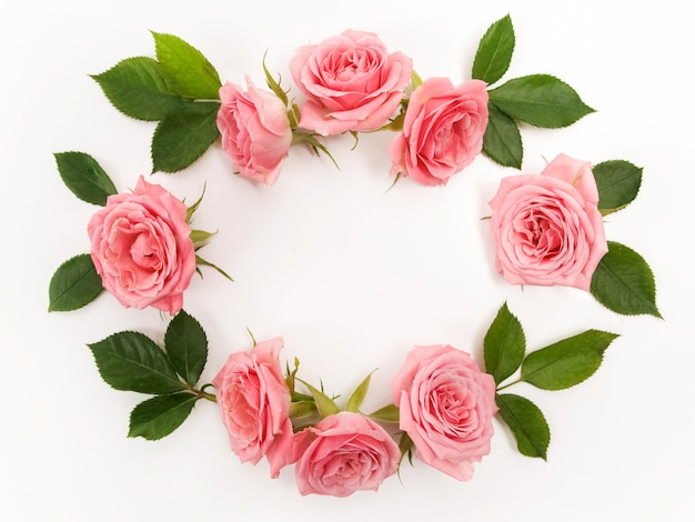 Moldura feita de rosas rosa isolada