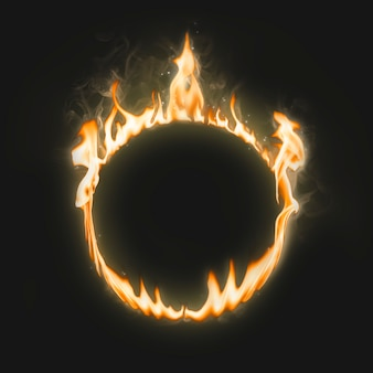 Moldura flamejante, forma de círculo, fogo ardente realista