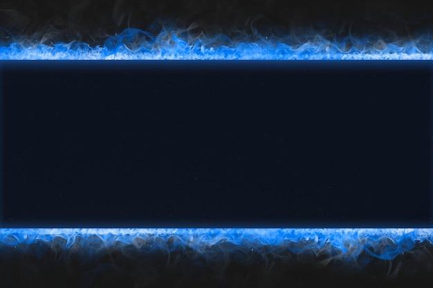 Moldura flamejante, forma de retângulo azul, fogo realístico