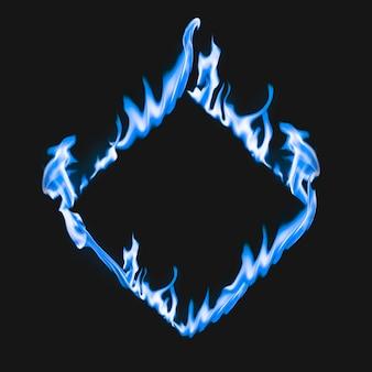 Moldura flamejante, forma quadrada azul, fogo ardente realista