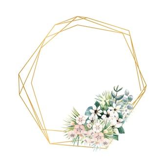 Moldura geométrica dourada com pequenas flores de folhas de actinídia, bouvardia, tropical e palmeira