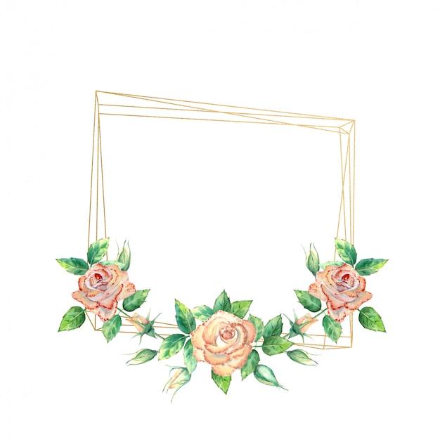 Moldura geométrica dourada decorada com rosas de pêssego