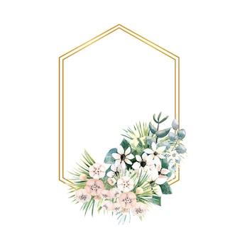 Moldura hexagonal de ouro com pequenas flores de actinídia, bouvardia, tropical e folhas de palmeira