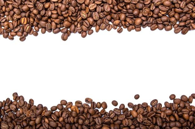 Moldura horizontal de grãos de café torrados