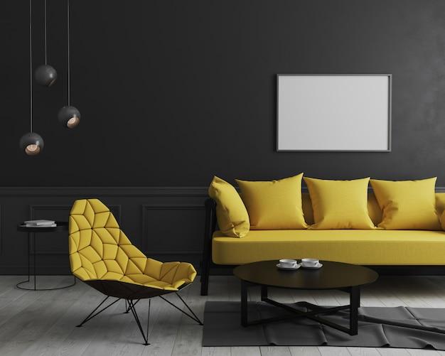 Moldura horizontal em branco simulada acima no interior da sala moderna com parede preta e elegante sofá amarelo e poltrona de design perto de mesa de café