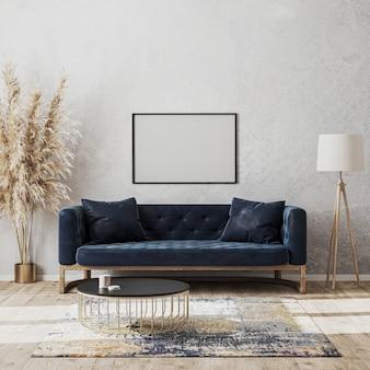 Moldura horizontal em branco simulada na parede em uma sala de estar moderna e luxuoso design de interiores com sofá azul escuro