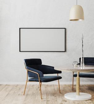 Moldura horizontal simulada no interior moderno da sala de jantar com cadeiras luxuosas em azul escuro e mesa de mármore e ouro com piso de madeira e parede cinza, renderização em 3d