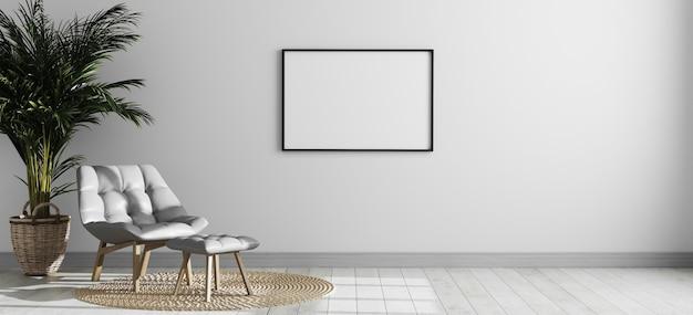 Moldura horizontal vazia no interior da sala moderna brilhante com poltrona e palmeira cinza, parede interior da sala vazia, sala interior estilo escandinavo simulado acima, renderização em 3d