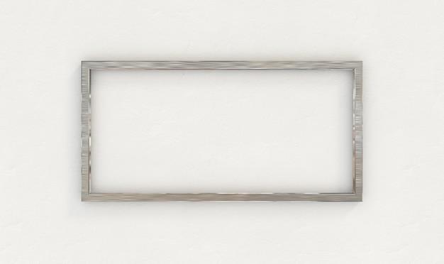Moldura inoxidável na parede branca. renderização 3d