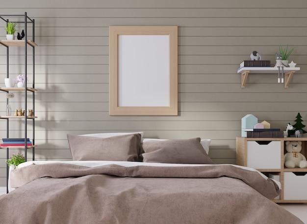 Moldura interior de pôster em branco na sala de estar
