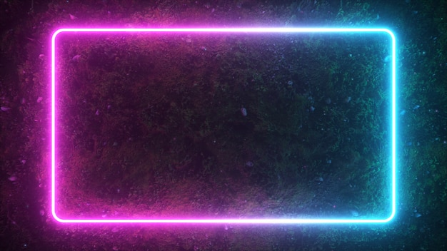 Moldura luminosa retangular de néon brilhante
