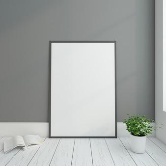 Moldura mínima com renderização 3d de parede cinza