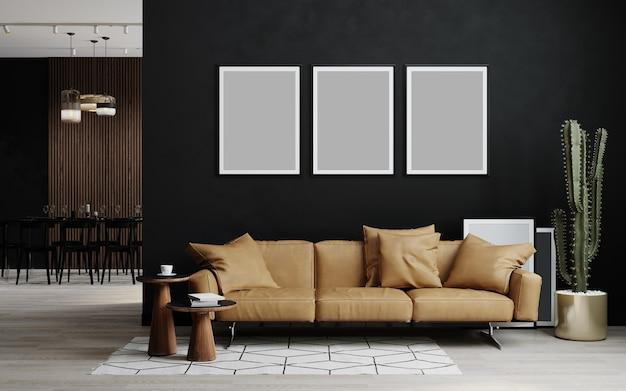 Moldura mock-up no interior escuro da casa com sofá, loft e renderização 3d