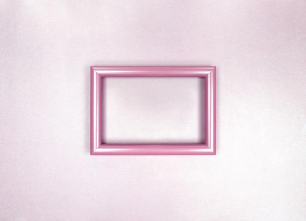 Moldura na parede, foto monocromática rosa suave e minimalista.