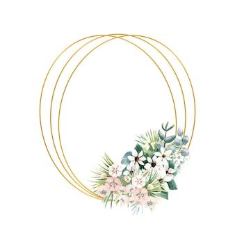 Moldura oval de ouro com pequenas flores de actinídia, bouvardia, tropical e folhas de palmeira