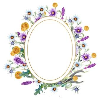 Moldura oval dourada com aquarela flores silvestres