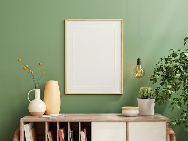 Moldura para fotos de maquete na parede verde montada no gabinete de madeira com belas plantas, renderização em 3d