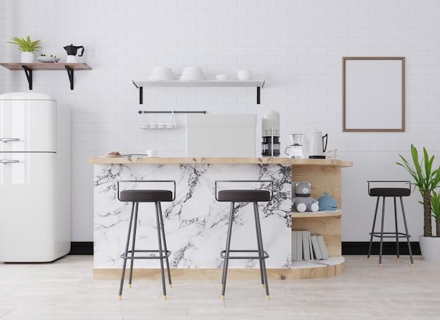 Moldura para fotos em branco no interior de um café
