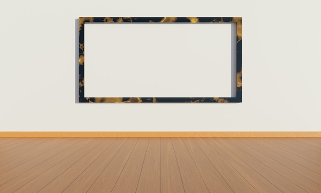 Moldura para fotos na parede da sala de estar. fundo de arquitetura de interiores minimalista, ilustração 3d