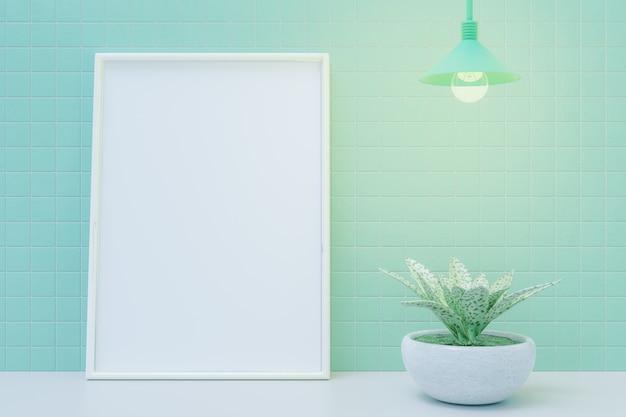Moldura para fotos vazia e pequena planta na mesa. renderização 3d.