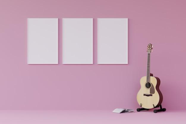 Moldura para retrato branca da árvore na parede com guitarra e livro na sala de visitas cor-de-rosa moderna. 3d rendem.