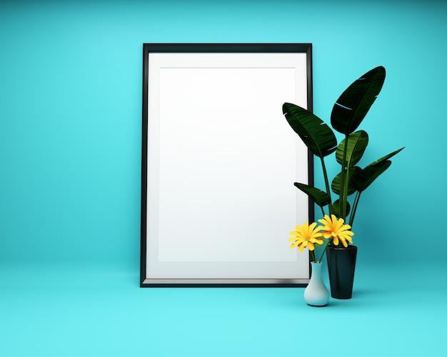 Moldura para retrato branca no fundo da hortelã com planta mock up. renderização 3d