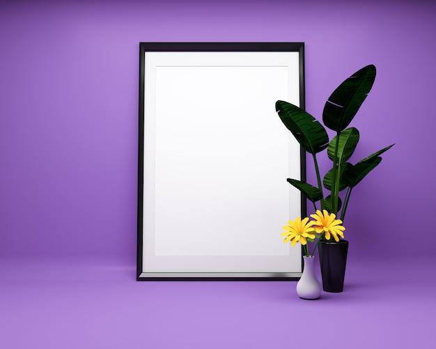 Moldura para retrato branca no fundo roxo com a zombaria da planta acima. renderização 3d