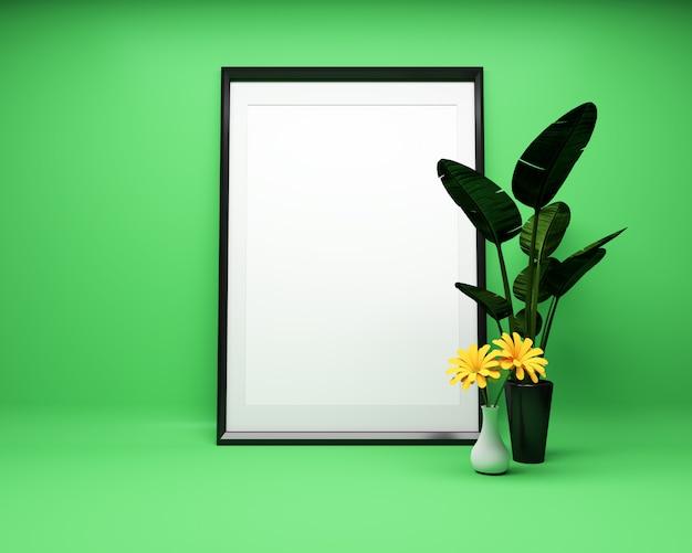 Moldura para retrato branca no fundo verde com planta mock up. renderização 3d