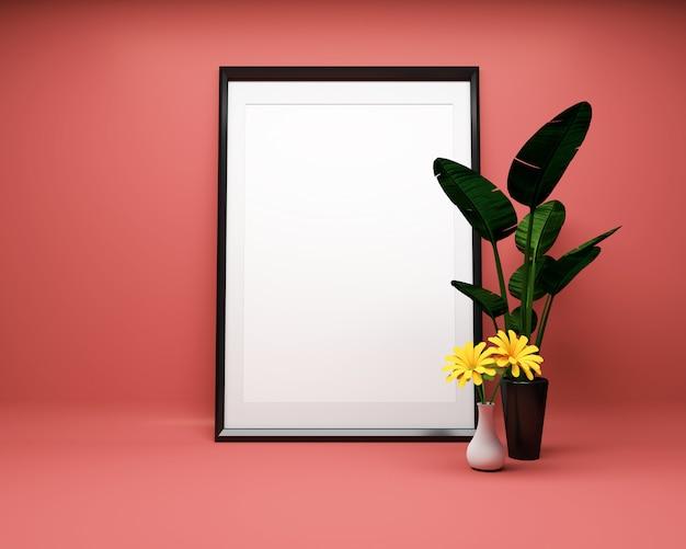 Moldura para retrato branca no fundo vermelho com a planta mock up. renderização 3d