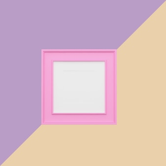 Moldura para retrato cor-de-rosa no fundo pastel roxo e alaranjado. idéia de conceito mínimo.